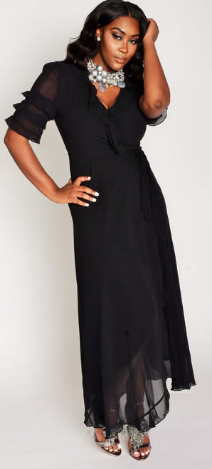 Chic Black Maxi Dress S (3-4) M (5-7) L (8-10)