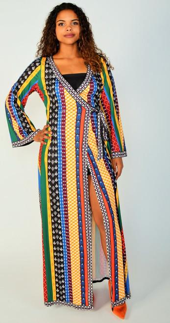 Vibrant MultiColorful Maxi Knit Wrap Dress