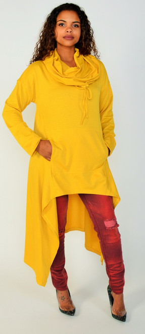 Vibrant Golden Yellow Hoodie That Features a Cowl Neckline