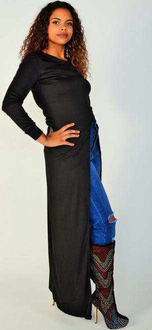Black Long sleeve Maxi length Top with Slit