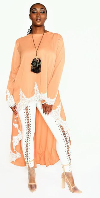 High Low Camel Color  Maxi Top