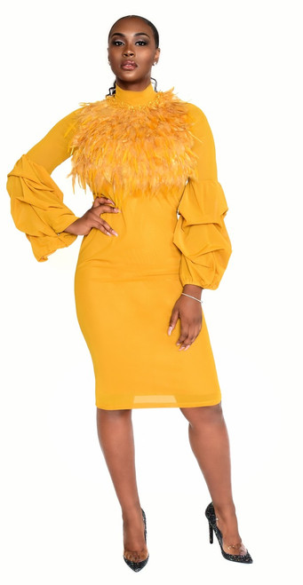 Mustard Color Feather Trim BodyCon Dress