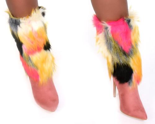 Faux Fur Colorful Boots