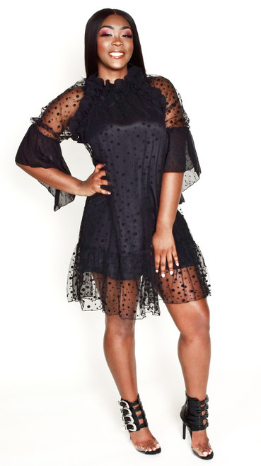 BLACK RUFFLE SLEEVE MESH DRESS