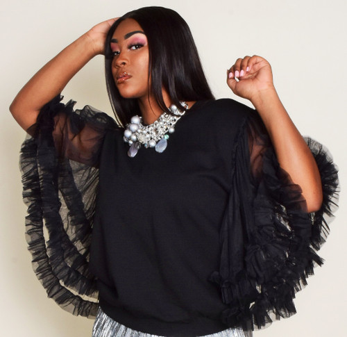 Black Mesh Ruffle 3/4 Sleeve Top