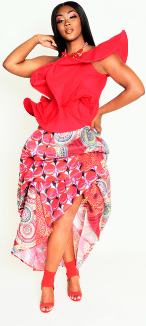 One Shoulder Red Ruffle Top