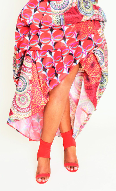 Red Multi Pattern High-Low Skirt