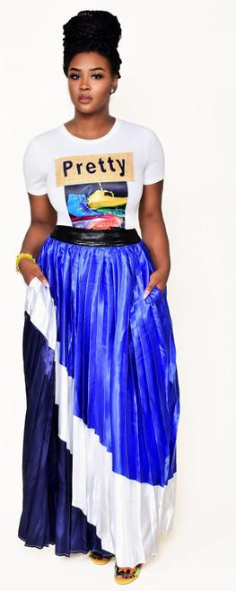 Royal Blue, Black & White Maxi Skirt