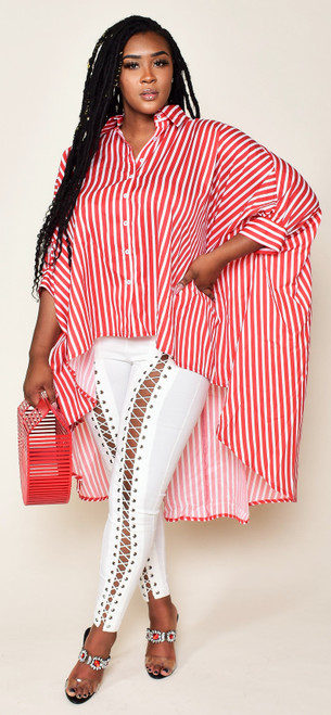 Oversized Red and White Pinstripe Top