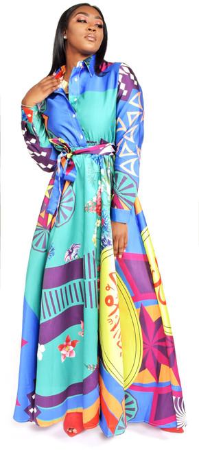 Multi-Colorful Print Maxi Dress