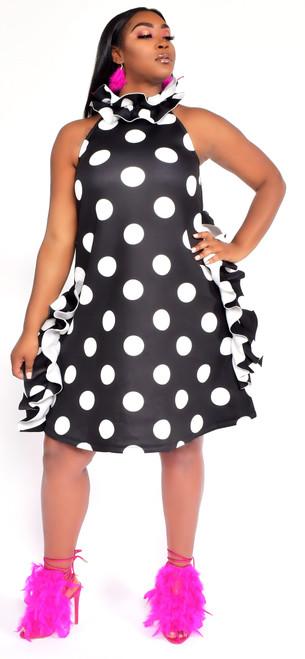 Black and White Polka Ruffle Neck Dress
