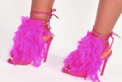 Fuchsia Feather High Heel Sandals
