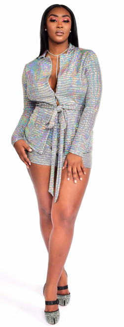 Two Piece Sequins Jacket and Short Set