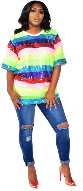 Colorful Sequins Stripe Top