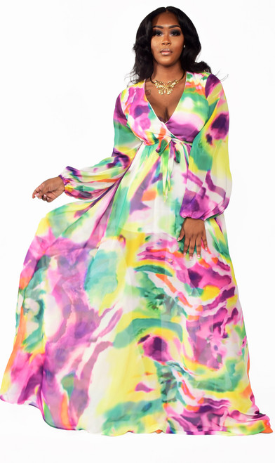Colorful Swirl Pattern Maxi Dress