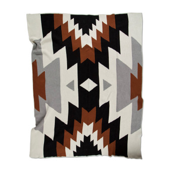 Chiapas  is a bold, modern pattern throw blanket in a contrasting but neutral colorway that is equally as comfortable on an adventure as it is netflixing on a sofa.   Colors here are: Black, Cinnamon (deep rusty brown), Dove (light grey) and Ivory