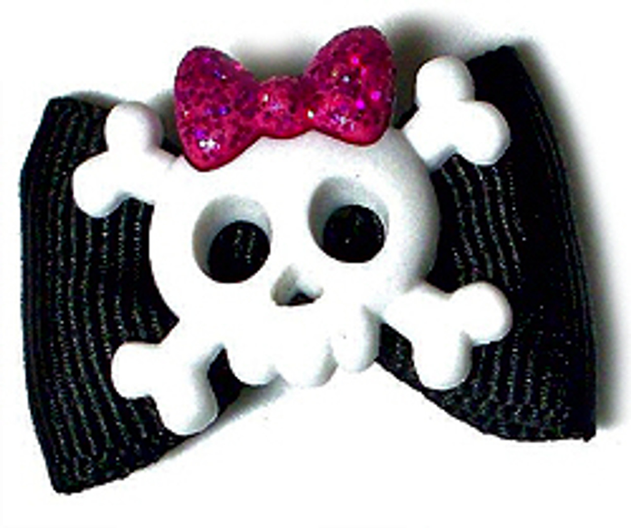 Male Skull Cross Bones and Female Skull w// Bow Collage Suspenders