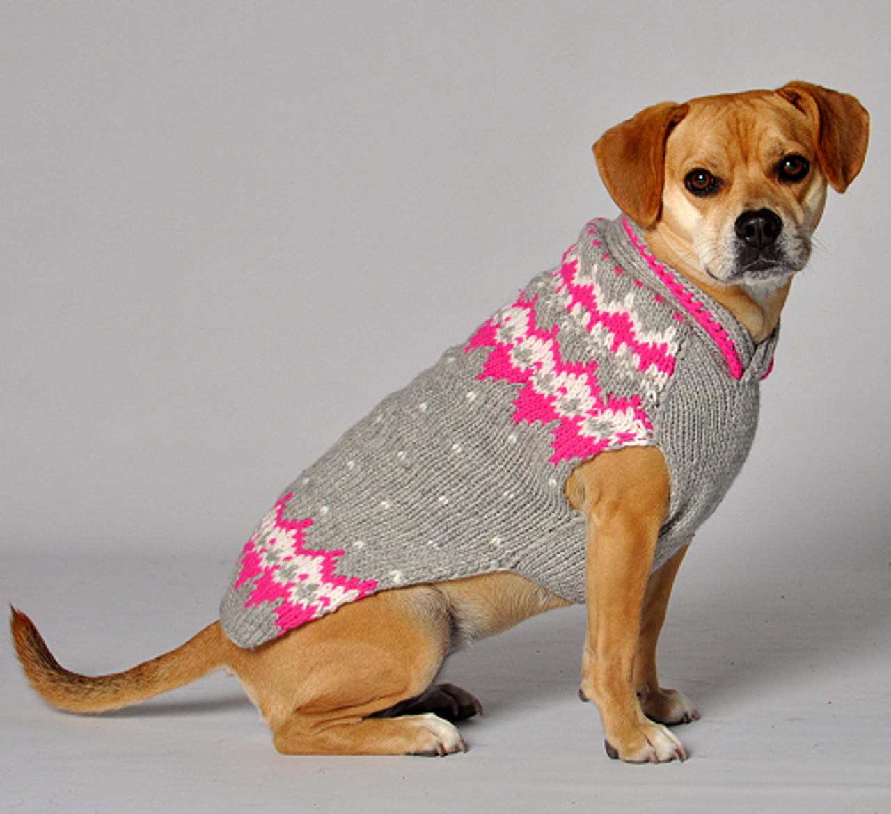 Pink Grey Alpine Knit Dog Sweaters