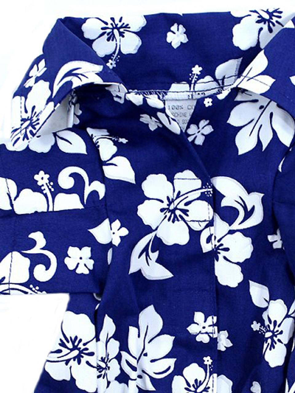 Navy Hibiscus Hawaiian Dog Shirt