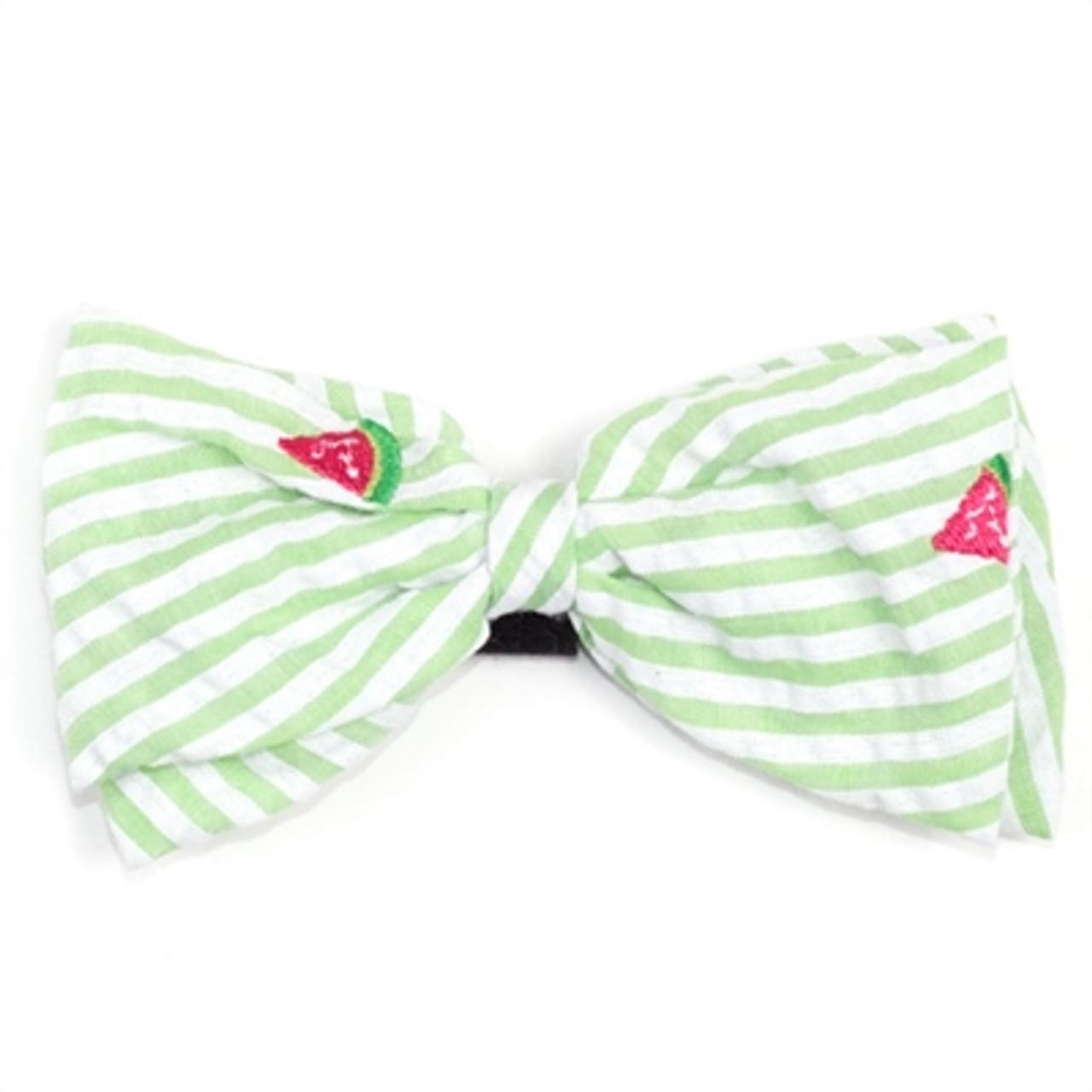 7b332fa4ca79 Green Stripe Watermelon Pet Dog Bow Tie | Worthy Dog