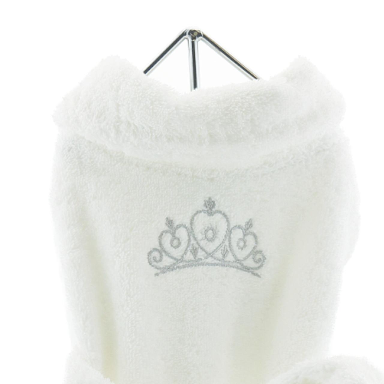 72bfb8443 White Silver Tiara Pet Dog Bathrobe | Doggie Designs at PupRwear