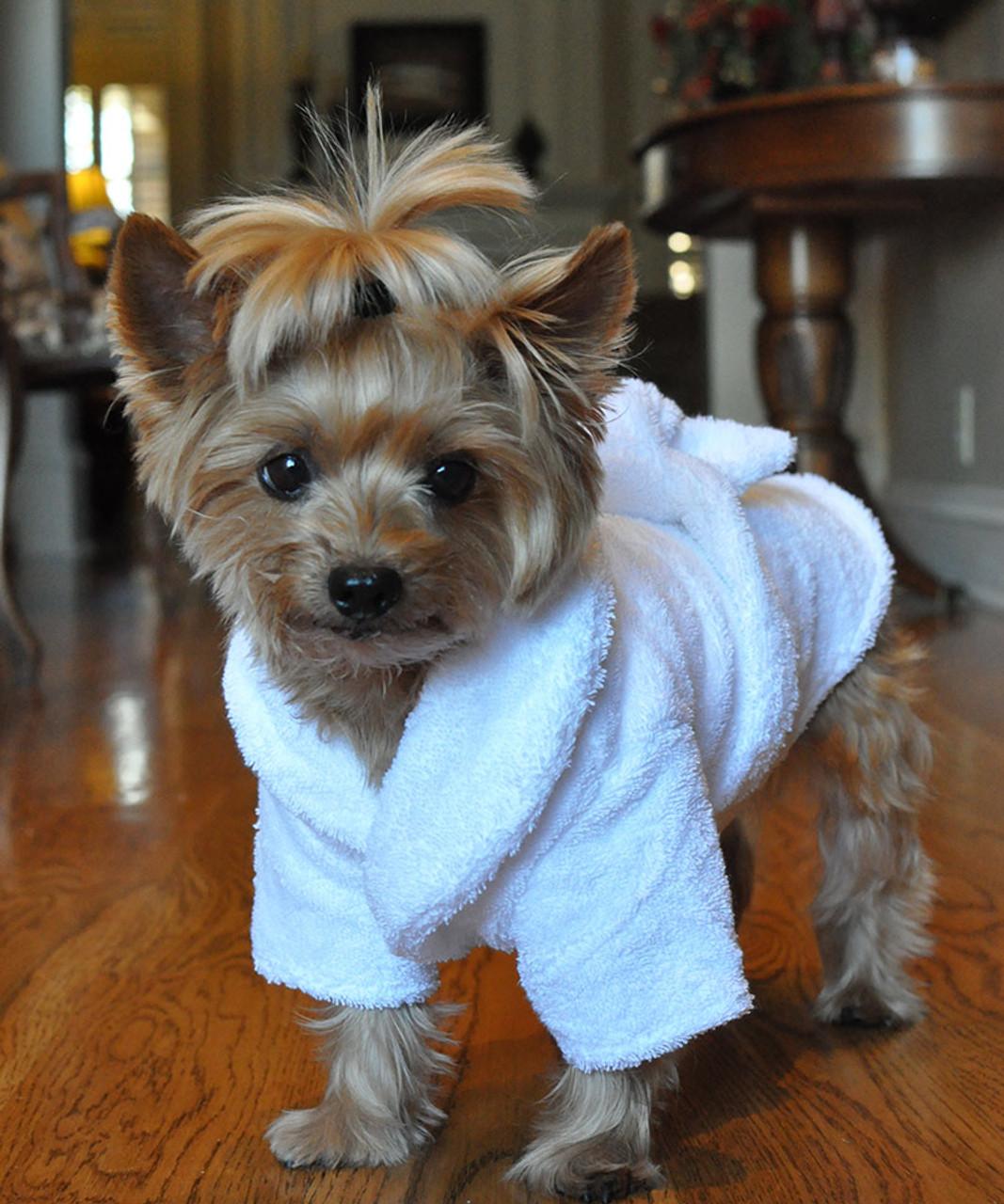 5ed31132b ... White Silver Tiara Pet Dog Bathrobe ...