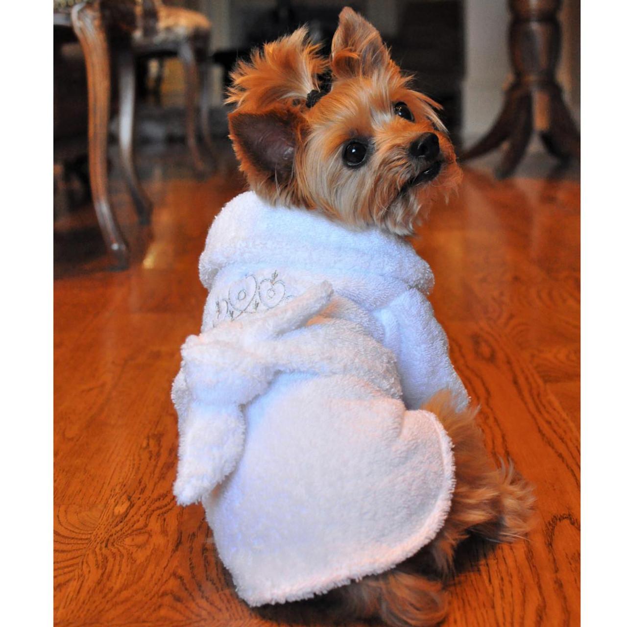 1ddeb1f96 ... White Silver Tiara Pet Dog Bathrobe