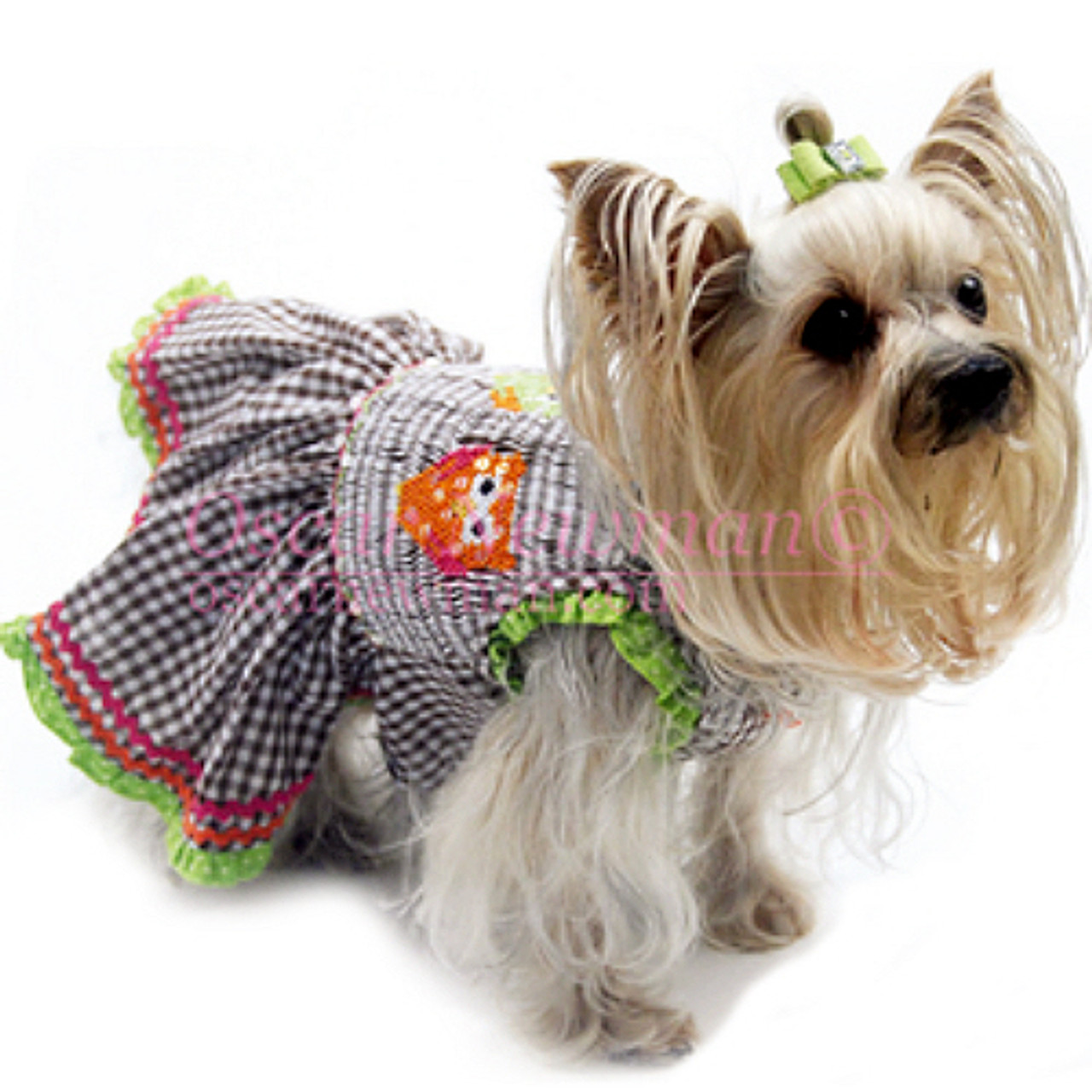 Special occasion dog dress with eyelet apron