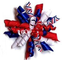 Dog Hair Bow Barrette - Red, White & Blue Fireworks Barrette