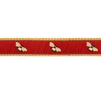 Dog Collar - Bumble Bees on Burgundy - 1/2, 3/4, 1 1/4