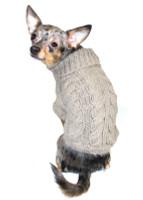 Angora Cable Knit Dog Sweater - Chocolate