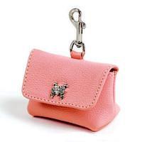 Pink Leather Leash Accessory Poop Bag Holder
