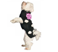 Black & White Polka Dot with Flower Dog Sweaters