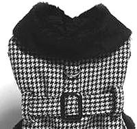 Houndstooth Fur Lined Dog Coat & Leash by Doggie Design