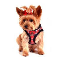 American River Red Plaid and Minky Fur Ultra Choke Free Dog Harness