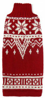 Alpaca Dog Sweater - Red & White Snowflake