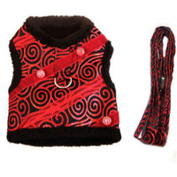 Ruby Red Brocade Minky Plush Dog Harness