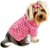 Pink Bobble Stitch Dog Sweater - Hand Knitted