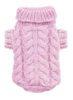 Pink Angora Cable Knit Dog Sweater
