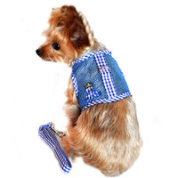 Cool Netted Dog Harness - Boy Octopus Blue Gingham