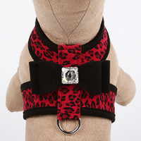 Red Cheetah Couture Collection Big Bow Tinkie Dog Harness - Black Trim