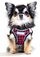 EZ Reflective Houndstooth Dog Harness Vest - Pink / Black