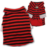 Red & Black Stripes Polo Dog Shirt - Small