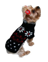 Black Fair Isle Snowflake Dog Sweater