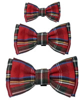 Pet Dog Christmas Bow Tie - Red Plaid