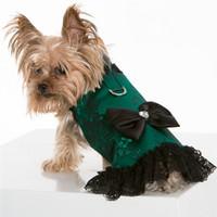Pet Dog Apparel Clothing Clothes Gold Sequin Black White Stripe Harness Dress XXXS-L