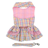 Pink Seersucker Ruffle Dog Dress with Leash