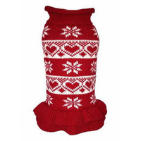 Red Hearts & Snowflakes Dog Sweater Dress - Size 10