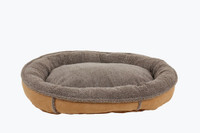 Faux Suede & Tipped Berber Round Comfy Cup Dog Bed - Caramel