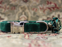 Mistletoe Pine Green Velvet Dog Collar - Personalized Buckle